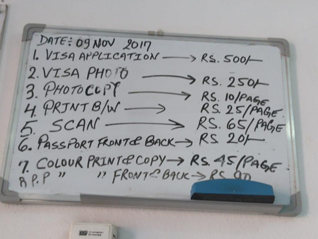 prijslijst van het kantoor